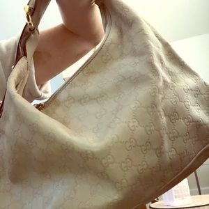 GUCCI STONE WHITE LEATHER HOBO BAG